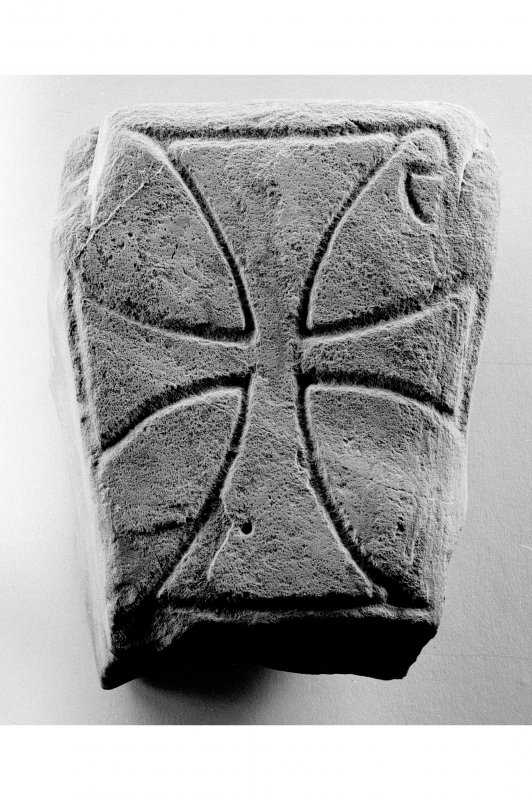 Iona, Iona Abbey, museum. View of Early Christian grave marker bearing incised Chi-Rho monogram.
