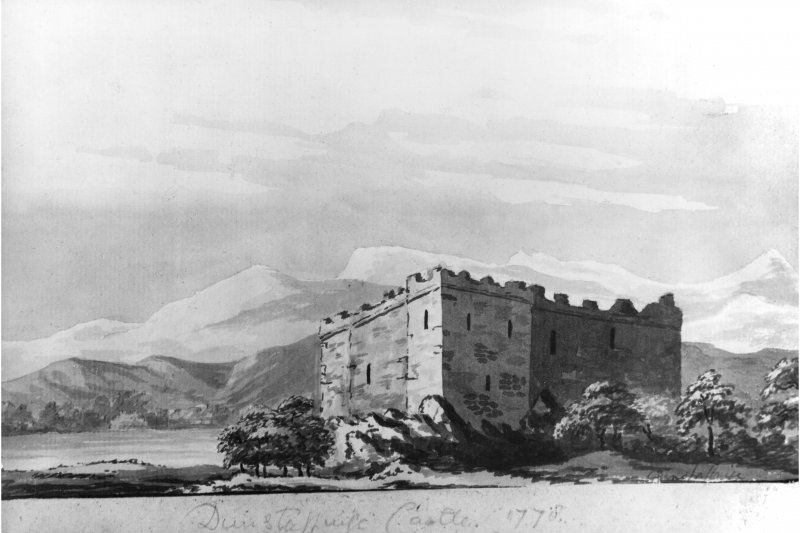 Dunstaffnage Castle. Photograph of drawing of either Dunstaffnage Castle or maybe Castle Sween. Insc. 'Dunstaffnage Castle.  1778'.