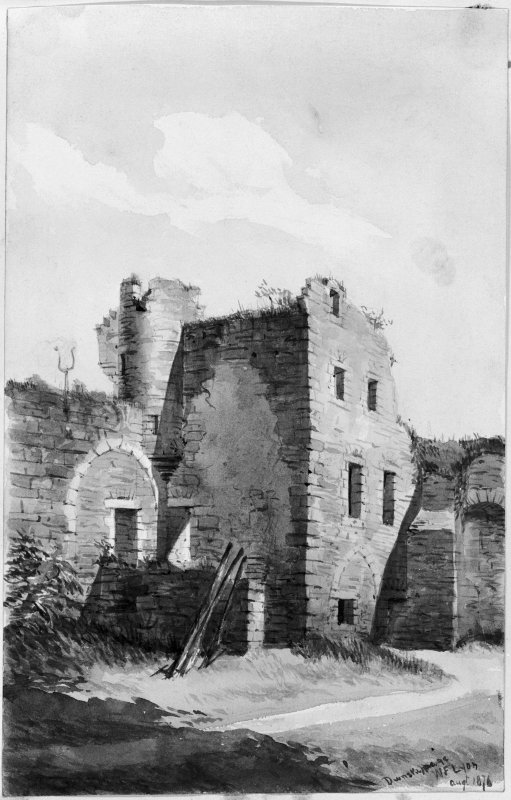 View of detail of South East corner of Dunstaffnage Castle courtyard. Titled:  'Dunstaffnage, W.F. Lyon, Augt 1876.'