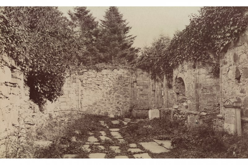 Historic photograph. View of ruined interior from W.