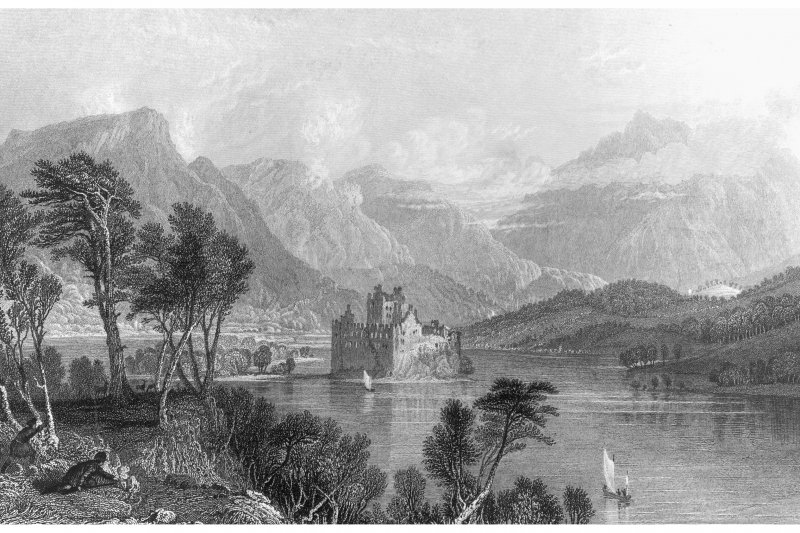 General view from the West looking towards Dalmally. insc. 'Kilchurn Castle, Loch Awe.  Looking towards Dalmally.  (Argyleshire.)  T. Allom.  T. Barber.'