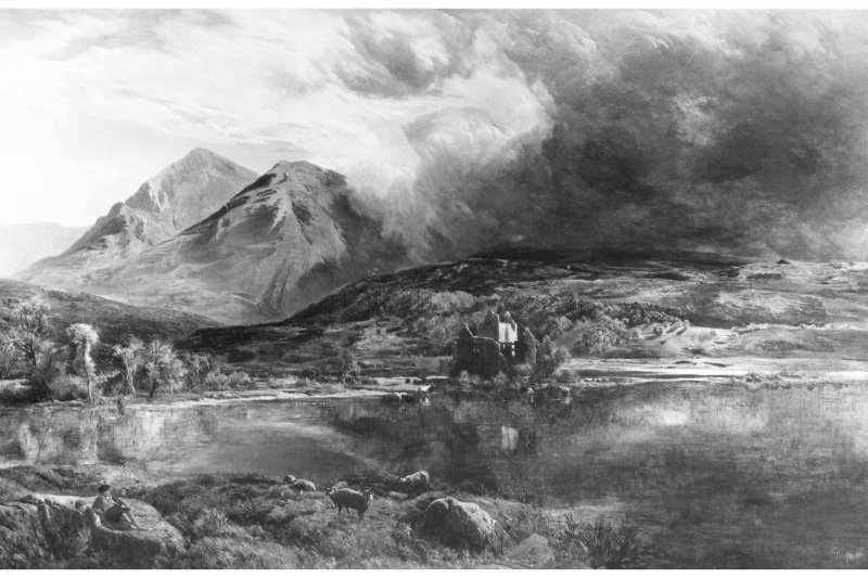 Kilchurn Castle. Photograph of painting showing general view from North-West.