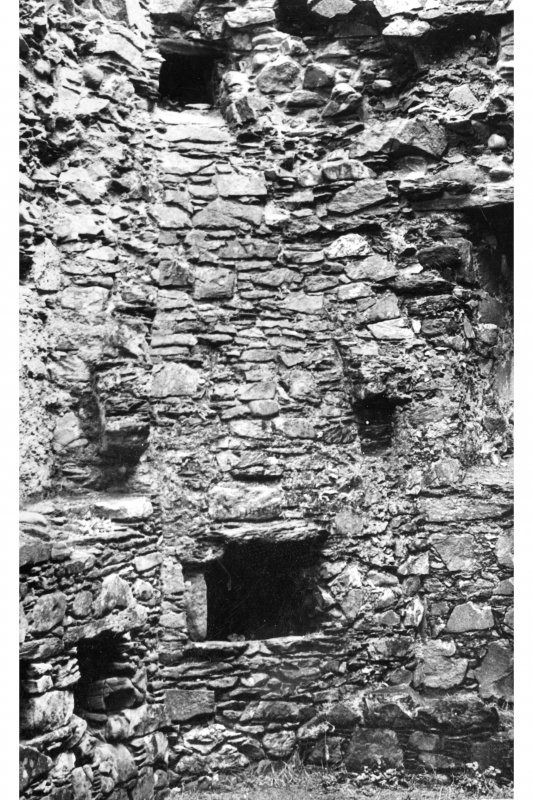 Castle Sween, interior. Detail of oven, flue and fireplace corbels in North Extension.