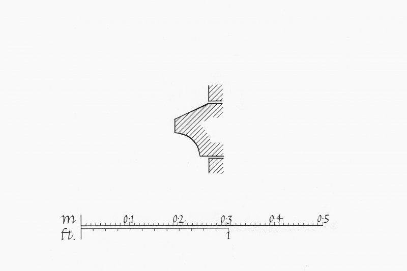 Iona, Iona Abbey.  Photographic copy of plan showing profile mouldings of voussoir and North transept.