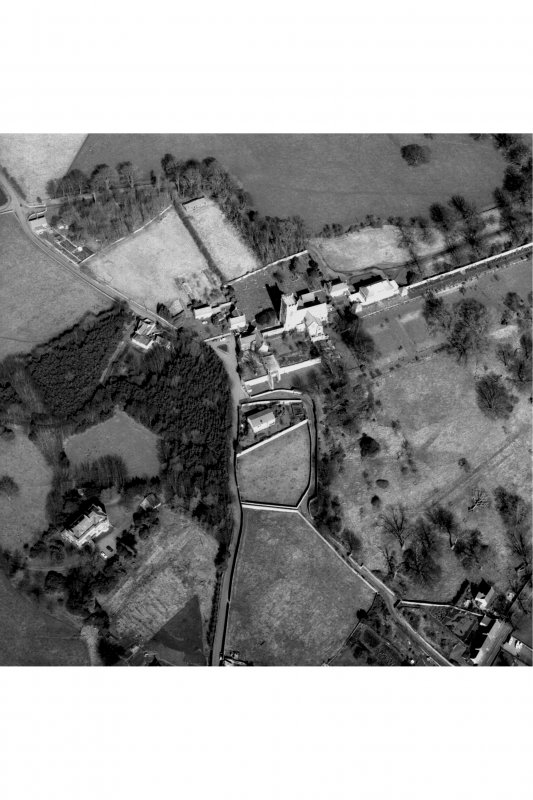 Arial view of Culross Abbey and House.