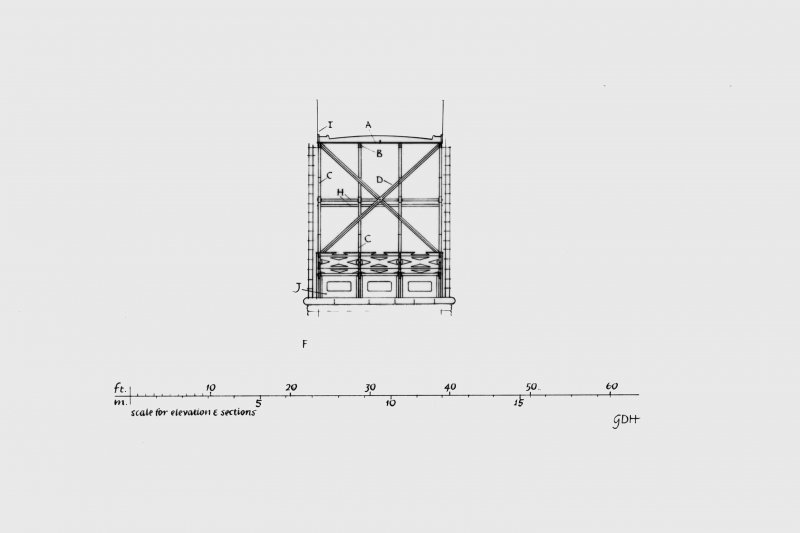 Details of half elevation, principal structural features, sections and plans.