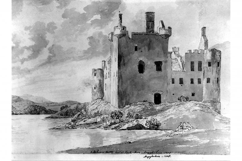 Photograph of painting of the head of Loch Awe and Kilchurn Castle. insc. 'Kilchurn Castle, head of Loch Awe, Argyleshire.  1808.' LO Pl. 71A.