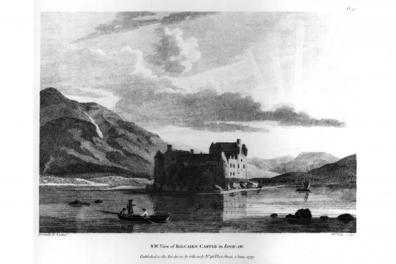 Photograph of engraving showing view from South. insc. 'P. Sandby, W. Ellis.  S.W. View of Kilcairn Castle in Loch Aw.  Published as the Act directs by G. Kearsly, No. 46 Fleet Street, 1 June, 1779.' LO Pl. 71B.