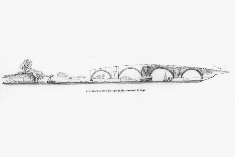 Plan, Elevations and Sections of Old Bridge, Bridge of Earn