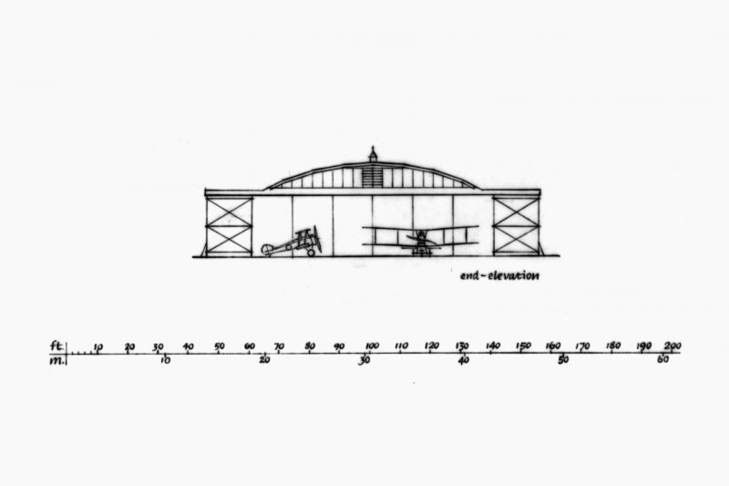 Axonometric Drawings, Cross-Sections and Elevations of Aircraft Hangars at Montrose Airfield