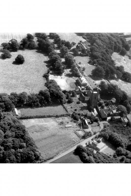 Aerial view of Culross Abbey and House.