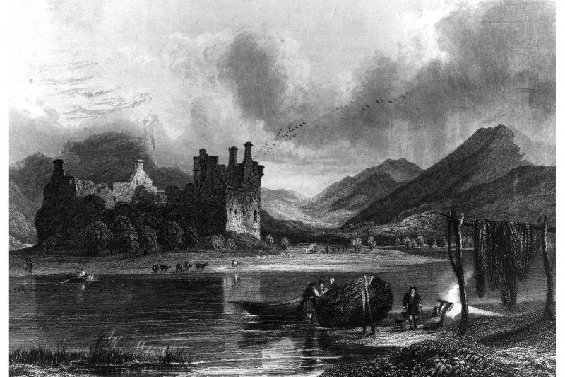 Kilchurn Castle. Photograph of engraving showing view from South. insc. 'McCullock, R. Wallis.'