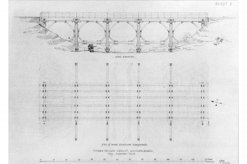 West elevation and plan of main structural components