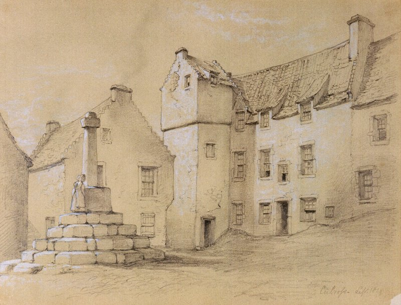 Perspective sketch of The Market Cross, Culross and The Study, insc. 'Culross, Sept.1849'.  by James Drummond