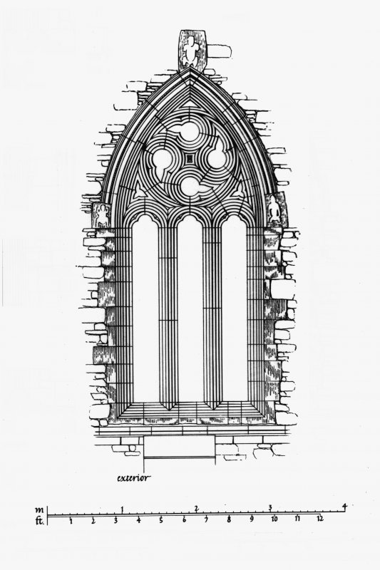 Iona, Iona Abbey. Photographic copy of plan showing South window of choir, plan, section, interior view and exterior view.