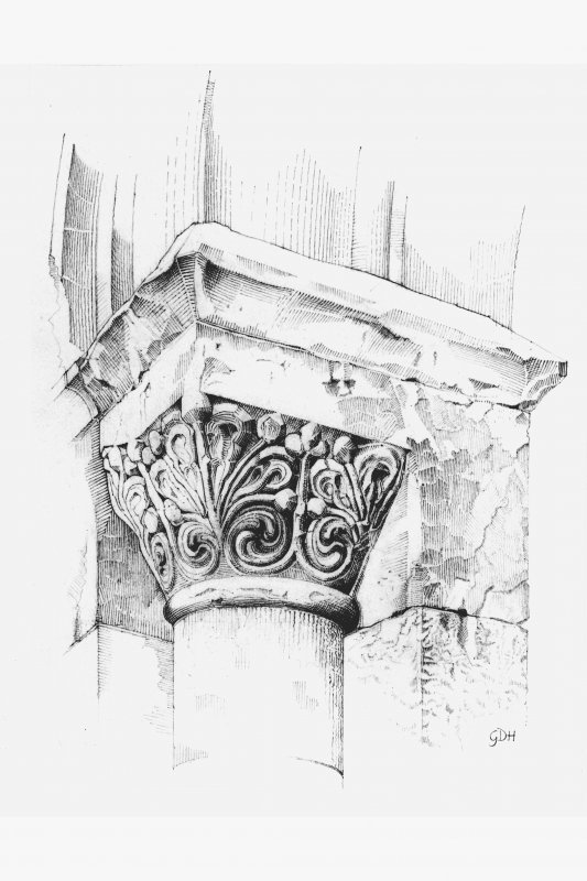 Iona, Iona Abbey. Plan showing perspective drawing of North nook-shaft capital of South chapel of North transept.