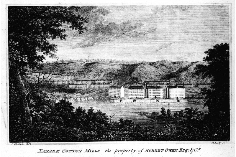 Early nineteenth century engraved view of New Lanark from South bank of the Clyde showing four mill buildings with housing behind. Insc. 'Lanark Cotton Mills, the property of Robert Owen Esq. and Co.'