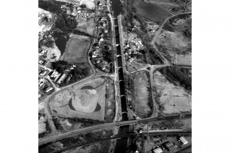 Scanned image of oblique aerial view showing Neptune's Staircase, Banavie Swing Bridge and Banavie Railway Swing Bridge.