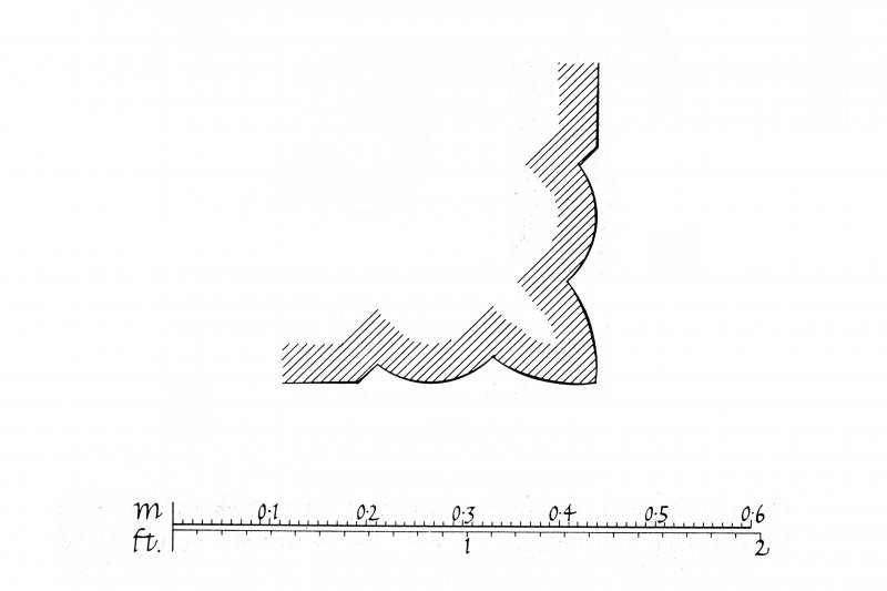 Iona, Iona Abbey. Plan showing nave and North choir aisle with profile mouldings.