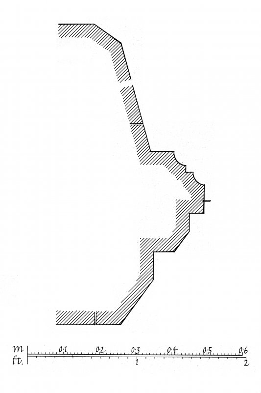 Iona, Iona Abbey. Plan showing profile mouldings of centre window in South wall and West doorway.