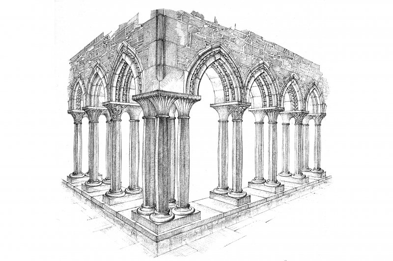 Iona, Iona Abbey. Plan of cloister arcade reconstruction.