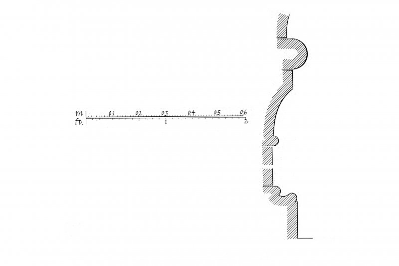 Iona, Iona Abbey. Plan showing chapter house arcade profile mouldings.