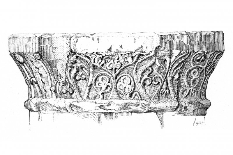 Iona, Iona Abbey. Plan of chapter-house arcade showing detail of carved capital.