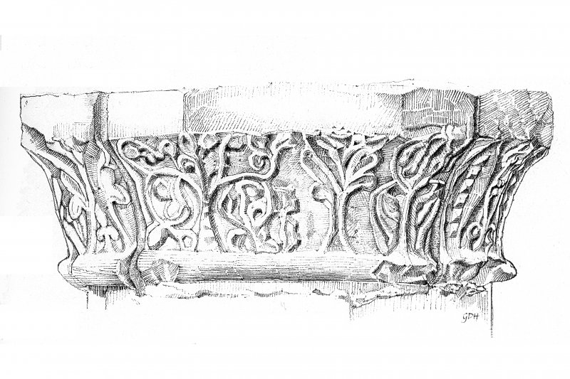 Iona, Iona Abbey. Sketch of chapter-house arcade showing detail of carved capital.
