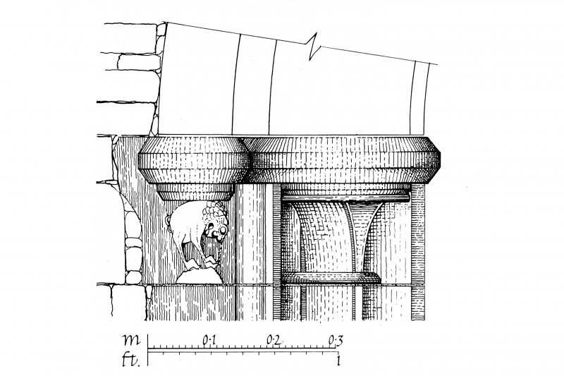 Iona, Iona Abbey. Photographic copy of plan showing refectory doorway with capital and hood-mould stop of West jamb.