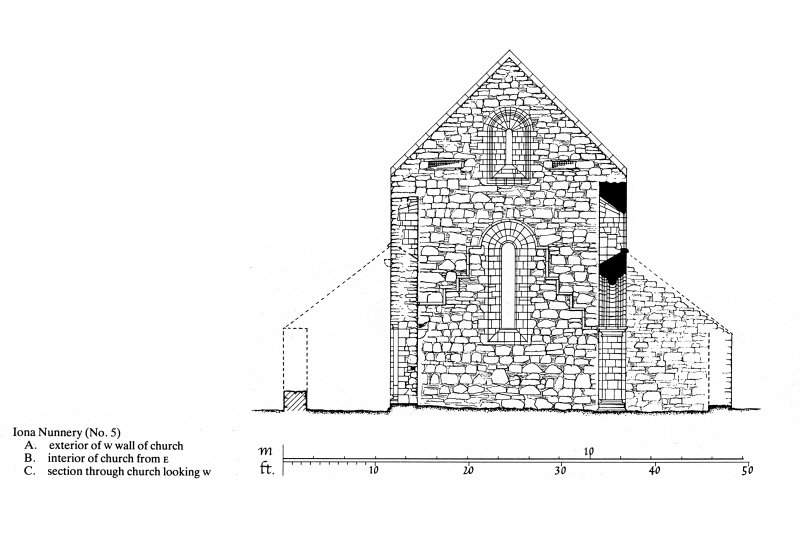 Iona, Iona Nunnery. Plan showing section through church looking East.