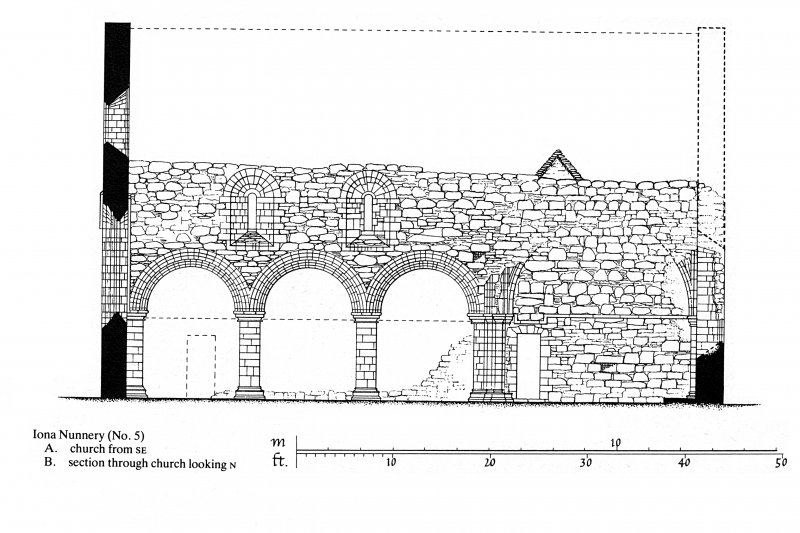 Iona, Iona Nunnery. Plan showing section through church looking North.