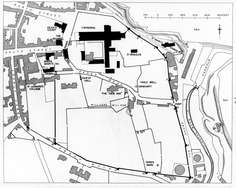 Site plan showing Abbey Walls, Precinct and principal monuments.