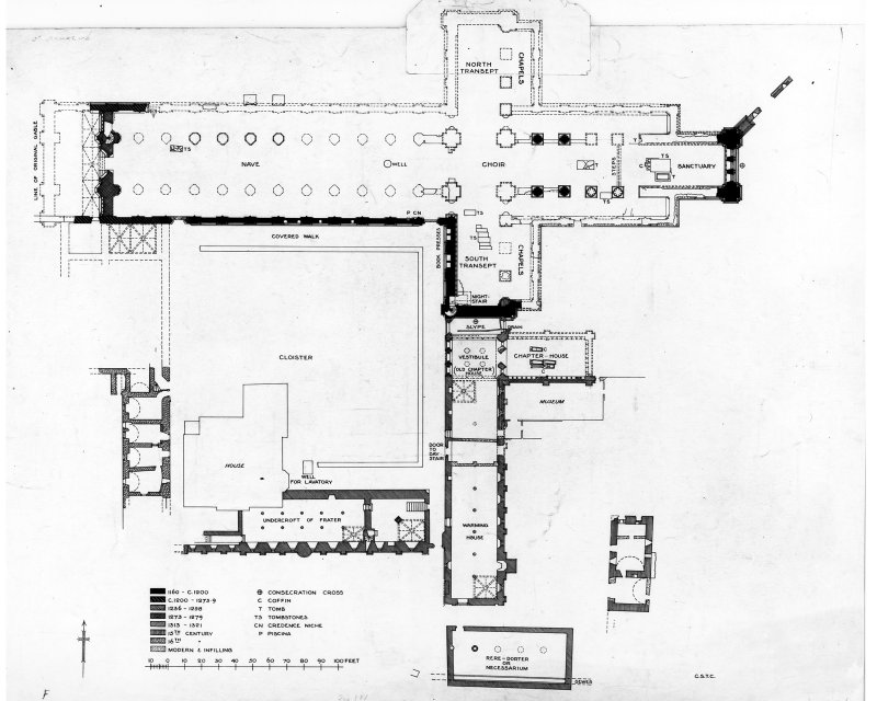 Plan showing building periods of St Andrews Cathedral and Priory.