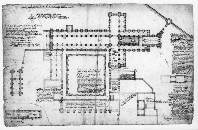 'MEMORIBILIA, JOn. SIME EDINr. 1840' page 67v		pen/ink plan of cathedral, cloister and surrounding buildings with scale 		and many detailed notes including measurements.