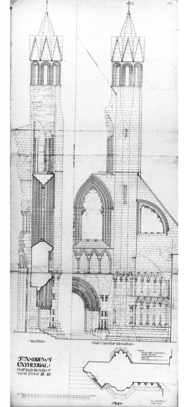 West front: plan, elevation and section of South half, St Andrews Cathedral. Insc. 'R. Campbell, May 1901'.