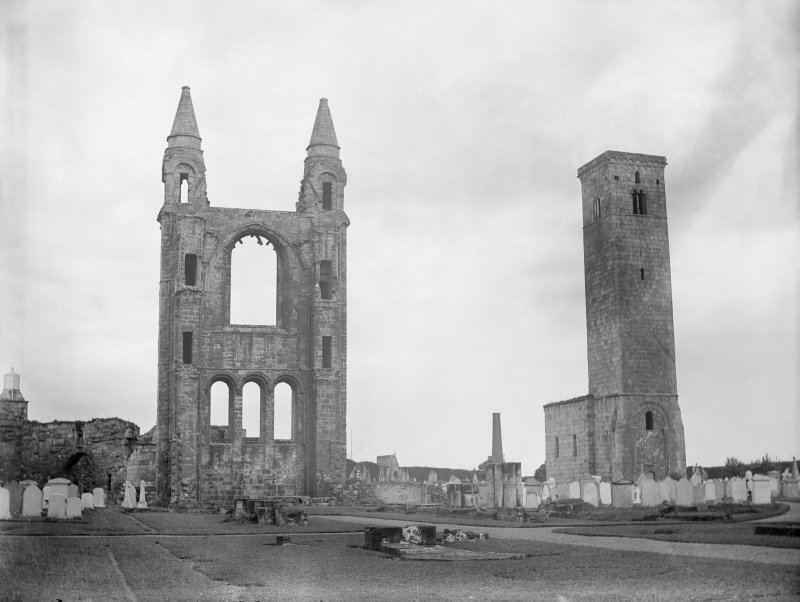 View of St Andrews Cathedral and St Regulus tower from North West.