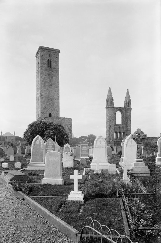 St Andrews Cathedral.  View of Cathedral and St. Rule's Church from South East.