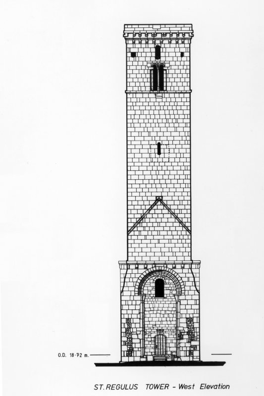 Photograph of drawing showing West Elevation