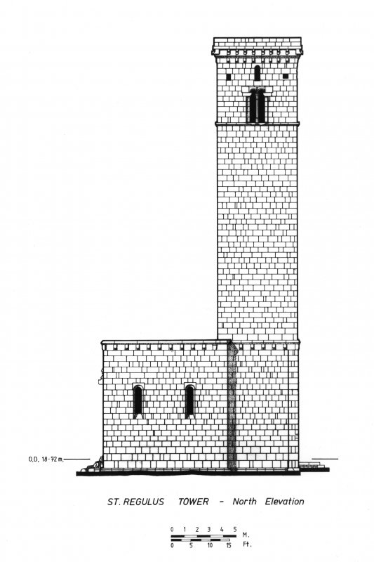 Drawing of North Elevation, St Regulus Tower, St Andrews.