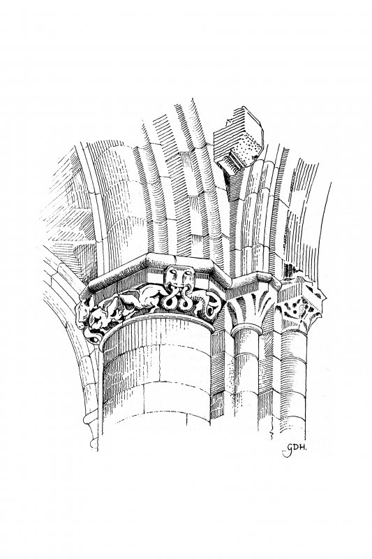 Iona, Iona Nunnery. Plan showing capitals of nave arcade.