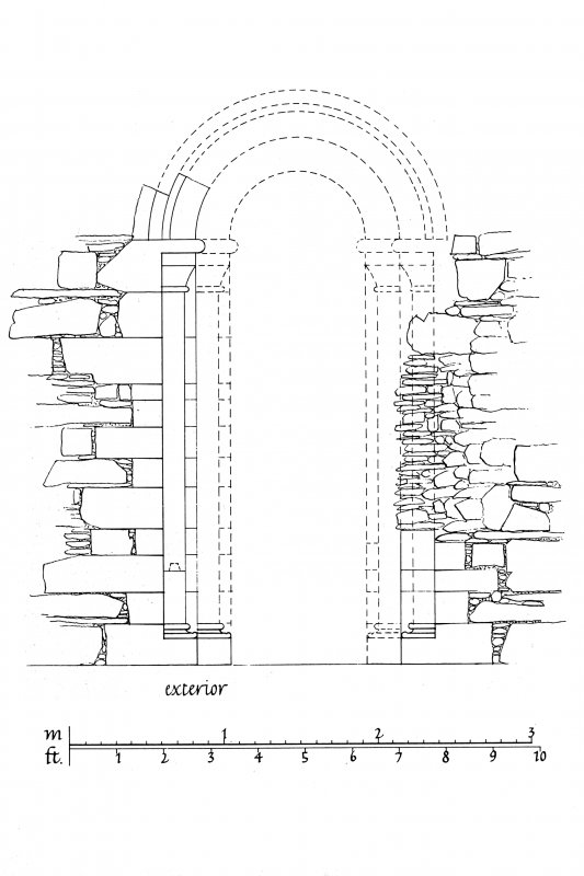 Iona, Iona Nunnery. Plan showing South nave doorway partially reconstructed.