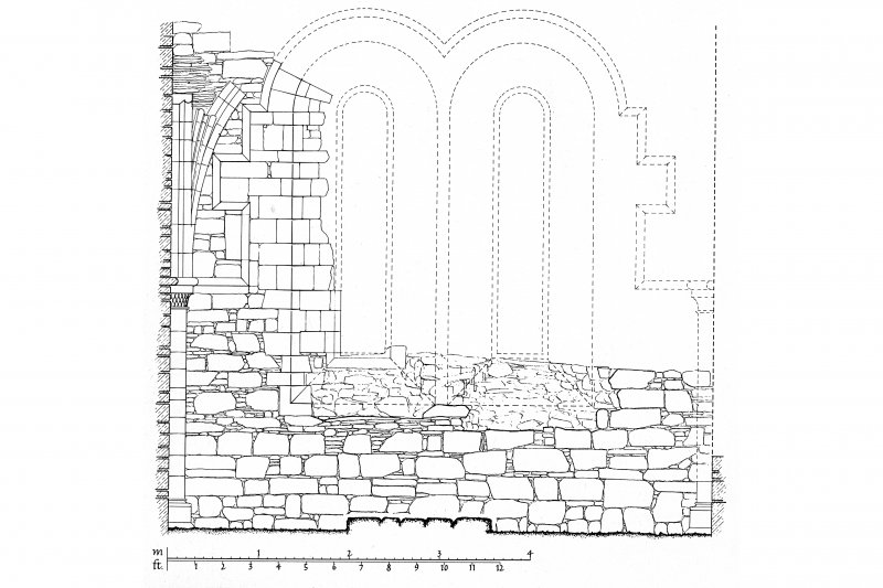 Iona, Iona Nunnery. Plan showing internal elevation of East wall.