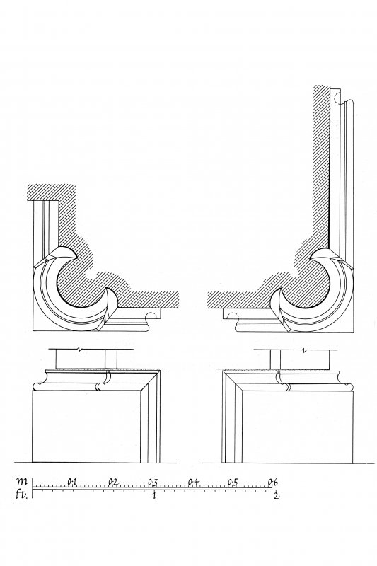 Iona, Iona Nunnery. Plan showing profile mouldings in chancel.