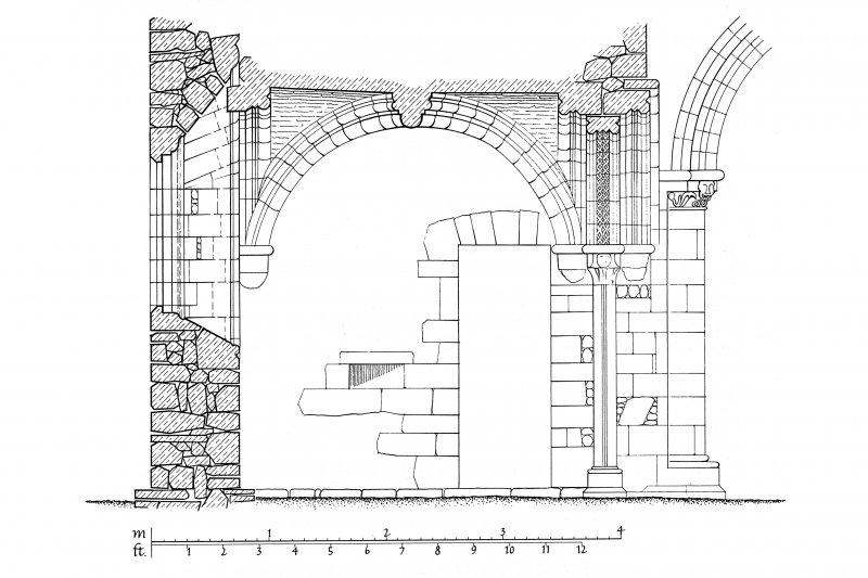 Iona, Iona Nunnery. Plan of section through North chapel looking South.