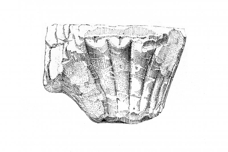 Iona, Iona Abbey. Sketch showing carved capitals of cloister arcade.