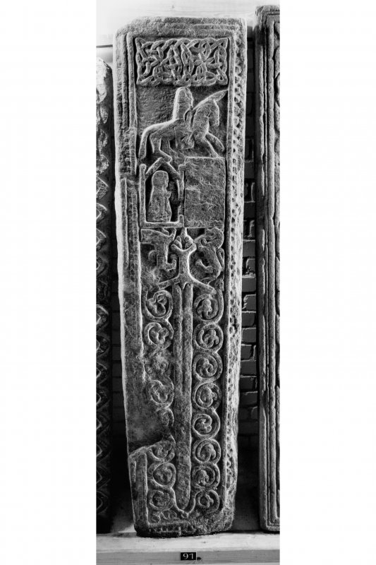 Iona, Iona Abbey museum. View of medieval grave-slab.