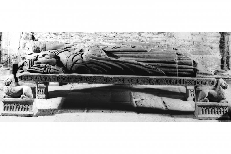Iona, general. View of effigy of Abbot John MacKinnon in profile, showing inscribed edge of slab.