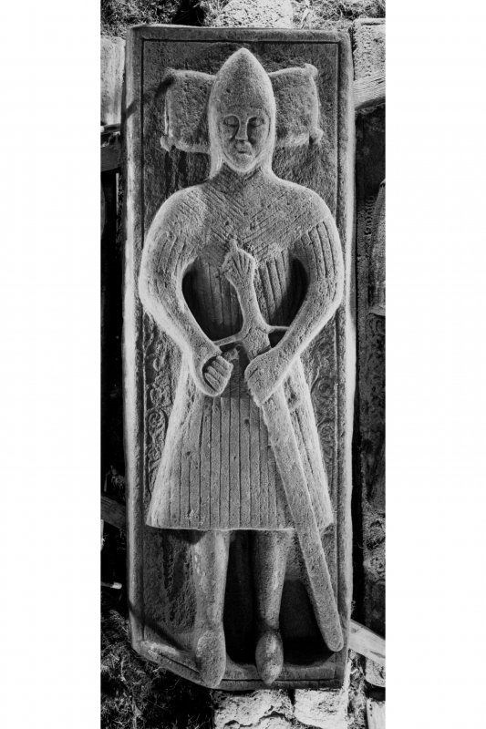 Iona, Iona Abbey Museum. View of effigy of unknown armoured man.