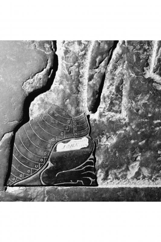 Iona, Iona Abbey. Detail of surviving brass fragment in position L107.