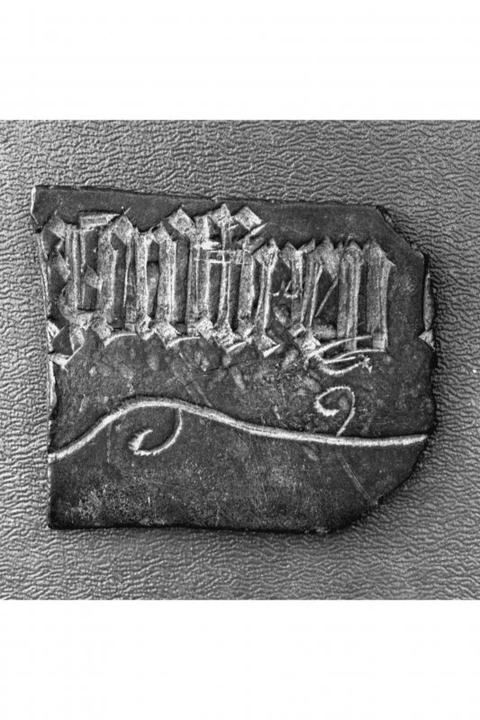 Iona, Iona Abbey. Detail of inscribed brass fragment L252.